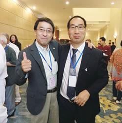 韓国代表と長瀬副会長(左)
