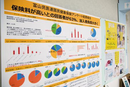 富山民医連は国保アンケートの結果を各事業所に貼り出し、職員と患者に情報発信している。富山協立病院で